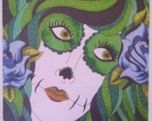 CIJSALE Sugar Skull Girl Roses Green ACEO Print 2.5x3.5 Inches   Day of the Dead Art Dia De Los Muertos Mexican Inspired   Art Collector Col