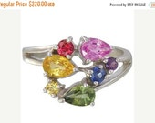 Valentines Day Sale Multicolor Rainbow Sapphire Multicolor Fireworks Ring 925 Sterling  : sku 1601-925
