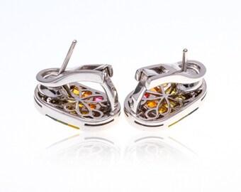 Multicolor Rainbow Sapphire & Diamond Fancy 18K Gold Earrings (3.34ct tw): SKU 21265 + 22689 + 23141
