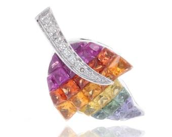 Multicolor Rainbow Sapphire & Diamond Maple Leaf Pendant 18K Gold (3.66ct tw) SKU: 10581 + 10079 + 22105 + 20931 + 20933 + 20934