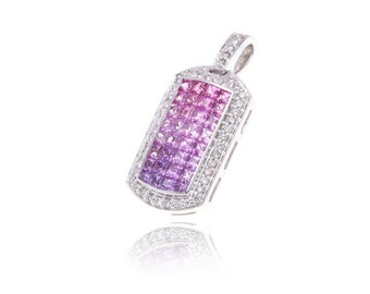 Multicolor Pink to Purple Sapphire & Diamond Pendant 18K Gold (2.70ct tw) SKU: 13102