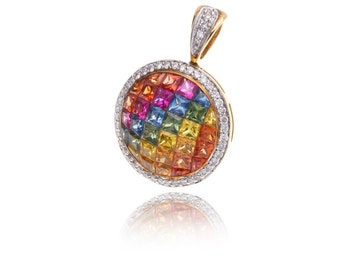 Multicolor Rainbow Sapphire & Diamond Pendant 14K Gold (3.86ct tw) SKU: 25483