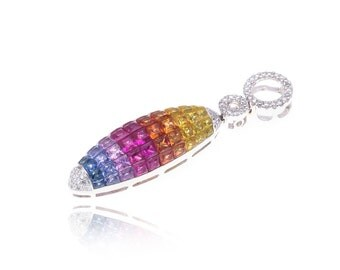 Multicolor Rainbow Sapphire & Diamond Pendant 18K Gold (4.93ct tw) SKU: 15016 + 14020 + 13810