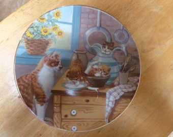 1988 Kittens plate Hamilton Country Kitties Table Manners