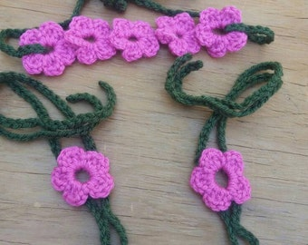 Pink and forest green handmade baby crochet flower headband and barefoot sandals