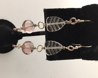 IBA Jewelry, PINK Ice, Pierced Earrings, Faceted Pink Glass, Czech glass,  Glass Leaves, INSPIRED by Amber