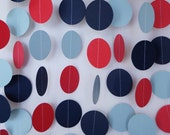 Party Decoration; Red, Blue & Navy Circle Garland; Paper Dots Banner; Baby Boy Shower Decor, 10 ft. long