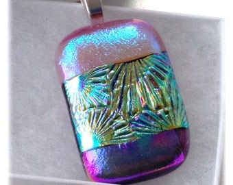 Dichroic Glass Pendant 018 Pink turquoise handmade fused cabochon