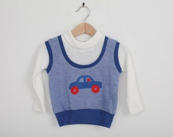 Vintage Carters 1970s Top with Car in Red, White and Blue