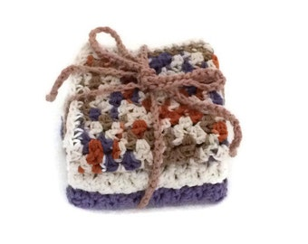 Dishcloth set  - Tan, Rust, Ecru / Off white, Purple Ombre - Purple - Ecru- Bath Set - Shell - Crochet Cotton