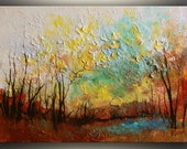 """ORIGINAL Painting, Fall 18""""x24"""" Landscape Painting ORIGINAL Art Fall Painting Original Painting Oil Painting Textured Modern Art Painting"""