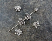 18 New Lotus Flower Spacer Beads Double Sided Atq Silver Tone Serene Beading Jewelry Supplies 13x9x3mm