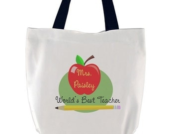 Personalized World's Best Teacher Tote Bag