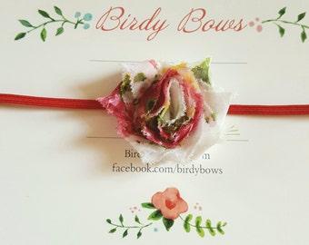 Petite Shabby Flower Headband, Baby Headbands, Newborn Headbands, Infant Headbands, Baby Girl Bow, Infant Hair Bow,