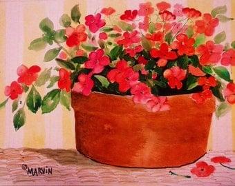Original artwork Watercolor Impatiens Summer garden 11 X 15 inches