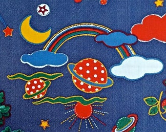 "Vintage Whinsical Juvenile Cotton Fabric 1 1/2 yd x 44"" wide"