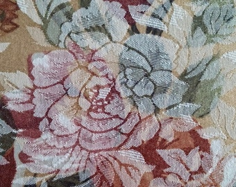 Vintage Floral Brocade Rectangular Tablecloth 53 inches wide by 110 inches long