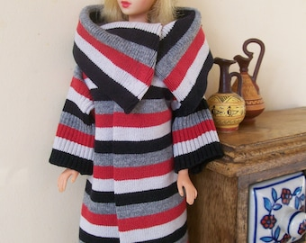Barbie clothes - black, white and red striped coat