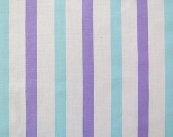 One Yard of Vintage Sheet Fabric - Blue & Purple Stripe - 1 yd