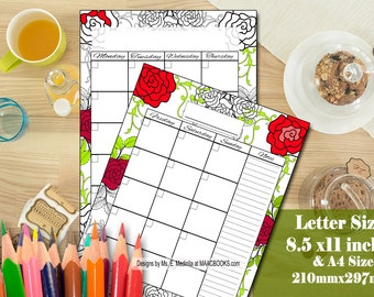 Monthly Planner PRINTABLE -Roses Monthly Organizer // A4 Monthly Planner Inserts, Letter Size Monthly Planner Coloring Pages