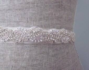 Silver Metallic Bullion Embroidered Beaded Wedding Sash / Belt, Detailed Rhinestone Bridal Sash