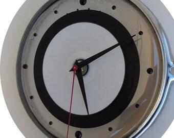 """8"""" Remo drum skin and hoop/rim clock. 6"""" 45 rpm w/ black dot numbers. CoOL cLOcK!"""