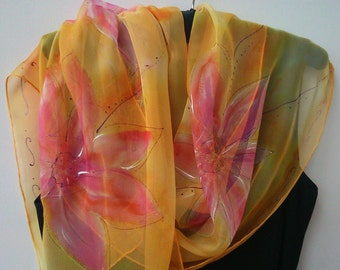 Romantic Hand Painted Coral Pastel Chiffon Scarf for Ladies. Apricot, Coral, Mango, Pink. 18x 71 in Scarf. Foulard Soie. Painted by Artist