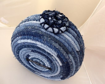 Upcycled Denim Coiled Rope Basket - Extra Large Fabric Bowl