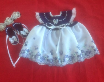 Handmade Crochet Newborn Baby Girl Dress Set - Navy & White