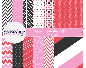 INSTANT DOWNLOAD, valentines day digital paper or black pink and red backgrounds for commercial use or personal use