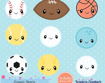 INSTANT DOWNLOAD, kawaii sports clipart and vectors for personal and commercial use
