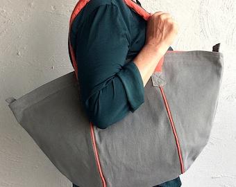 Halfmoon Big-Bag in kahki denim with orange broderei lining