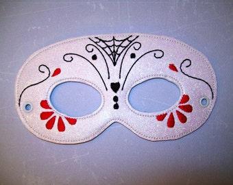 Child's Mask - Day of the Dead - Flowers - White glitter vinyl