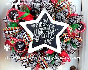 Christmas Wreath - Chalkboard Christmas - Whimsical Christmas Wreath - Holiday Decor - Deco Mesh Christmas Wreath