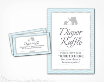 Boy Diaper Raffle Ticket Sign Printable - Blue and Gray Grey Elephant Baby Shower - Instant Download - Boy Baby Shower
