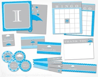 Boy Baby Shower Decorations - Printable Instant Download - Blue and Grey Gray Rain April Showers Themes Decor