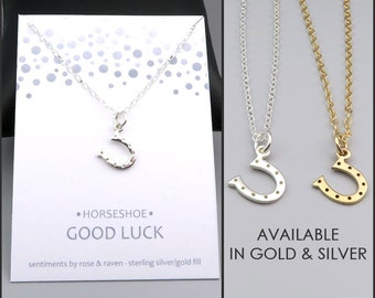 Horseshoe Necklace - good luck charm - silver or gold - lucky horseshoe - lucky jewelry - good luck gift