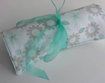 Ready to Ship- Green Aqua, White, and Khaki Floral Striped Travel Jewelry Roll