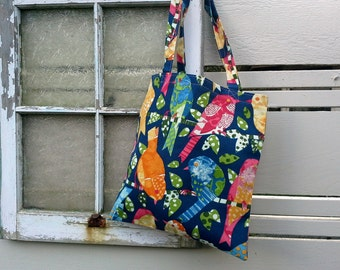 Totebag, shopping bag in a lovely navy cotton with birds in colorful red, yellow, pink and green, great for carrying books or knitting