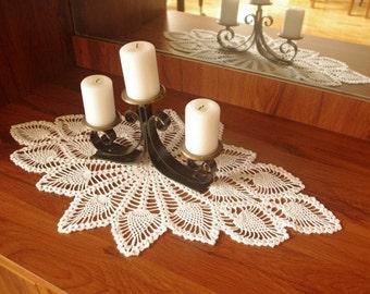 Crochet table runner White crochet doily Lace table runner Crochet tablecloth Table decorations Cotton decor
