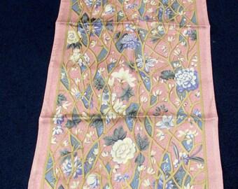 """Vintage Designer Ellen Tracy Silk Scarf Garden Trellis 11"""" x 59"""""""