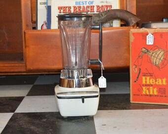 Vintage Hamilton Beach white Cookbook Blender with hidden cord storage drawer