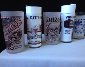 Hazel Atlas - Federal - Souvenir State City  - Tumblers - Arizona Utah Denver Virginia city Bucket of Blood Saloon