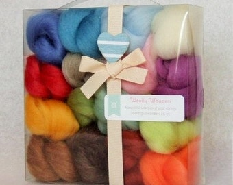 Wool Roving Kit, Wool for felting, 16 colours of merino wool roving, Box of needle felting wool, Needle felting gift, wool roving kit