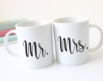 MR. AND MRS. Personalized Coffee Mug Set - Personalized Drinkware - Bride and Groom - Just Married - Couple Gift - Wedding Gift