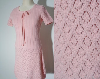 Vtg 60s Umbrella's of Cherbourg BABY PINK KNIT Mini Dress with Bow, Small to Medium