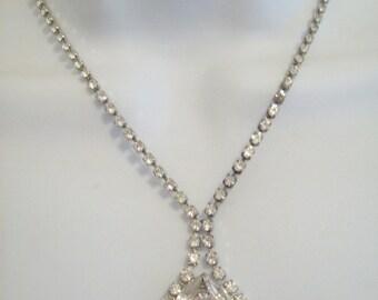 Vintage Rhinestones Choker Rhinestone Necklace Jewelry 100 Plus Clear Rhinestones Necklace circa 1940s Jewelry