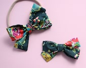 """The """"Piper"""" Green bright floral tied fabric bow headban"""