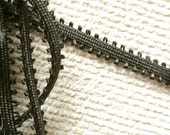 """Vintage Black Teeny Tiny Loop Soutache Soft Trim with Textured Black 1/8"""" Center Runner"""