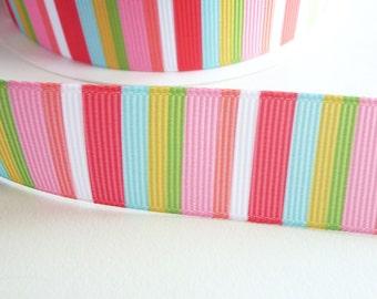 22mm Grosgrain Bright Multicoloured Stripe Polyester Ribbon - Sold by the metre - UK Seller
